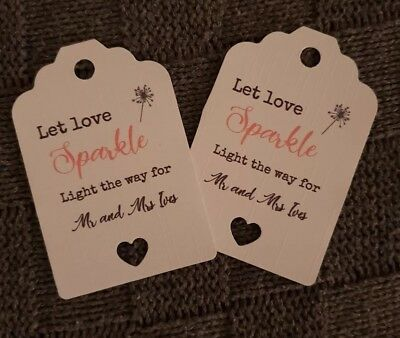 Let Love Glow 100 Personalised Wedding Glow Stick Tags White Ivory