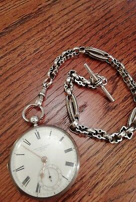 Antique Silver Pocket Watch With Silver Albert Chain