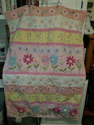 EUC Pottery Barn Flower Garden Baby Toddler Girl Quilt Floral Butterfly Pink