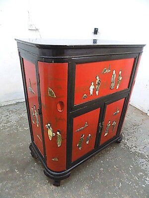 oriental,lacquered,red,black,chinese,drinks cabinet,cocktail cabinet,wine store