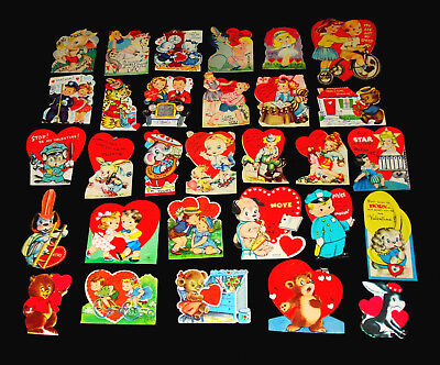 Lot 30 *unused* Vintage Valentine Greeting Cards With Girls, Boys, Dogs, Animals