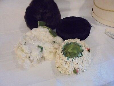 Vintage Lot Of 4 Womens Hats. 2 White Floral And 2 Faux Fur . Nice Condition