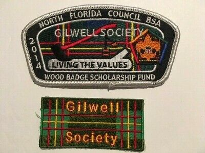 """North Florida Council 2014 Wood Badge CSP + """"GILWELL SOCIETY"""" Patch NEW"""