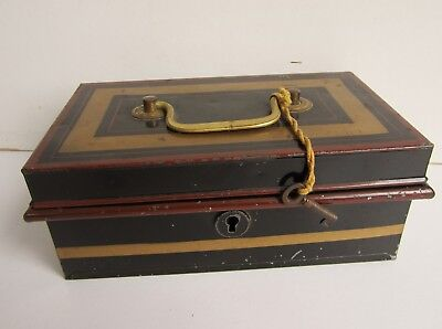 Vintage Metal Cash Box with Key - Made in England