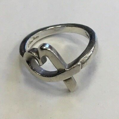 Tiffany & Company Loving Heart Signed Paloma Picasso Sterling Silver Ring Sz 5.5