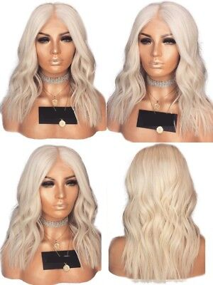"14"" Short Wavy Pastel Blonde GlueLess Lace Front Wig Synthetic Hair Cosplay"