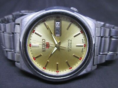 Japanese Seiko 5 Mechanical Men's Vintage Automatic Day & Date Wrist Watch