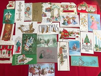 28. vintage christmas cards fronts only gold accents. Very nice