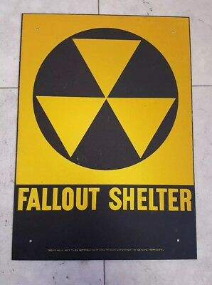 "VINTAGE 1960s ORIGINAL FALLOUT SHELTER SIGN. GALV.STEEL 10""x14"""