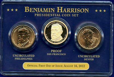2012 3 Coin Benjamin Harrison Golden Dollars - PDS
