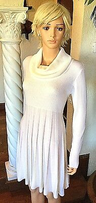 ed44e070be Calvin Klein New Women s L Ivory White Pleated Cowl Neck Sweater Dress  134  NWT