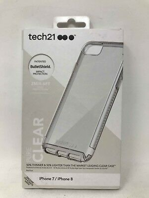 Tech21 Pure Clear Bullet Shield Case for iPhone 8 & iPhone 7 - Clear - New