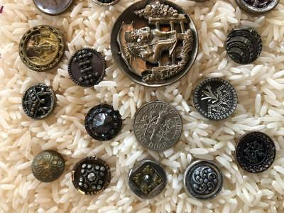 Victorian Metal Picture Buttons ~27~ Windmill, Kids with Umbrella, Cut Steel etc