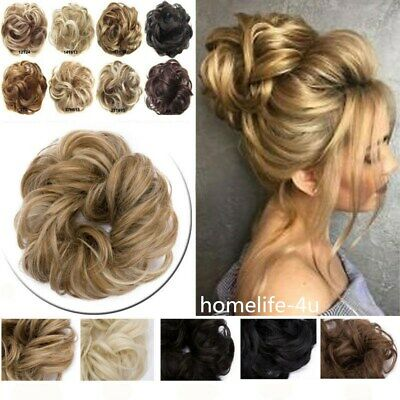 Real Natural Wavy Curly Messy Bun Hairpiece Scrunchie Thick Fake Hair Extensions