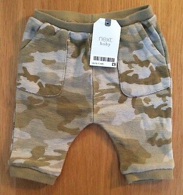 BNWT Brand New NEXT Baby Green and Brown camouflage leggings age Up to 1 month