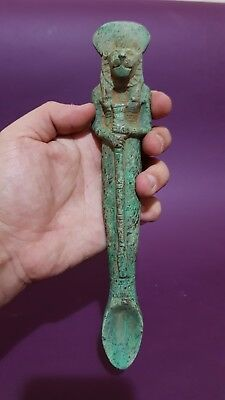 RARE ANCIENT EGYPTIAN ANTIQUES Funeral Spoon Holded GOD Sekhmet Egypt Stone BC