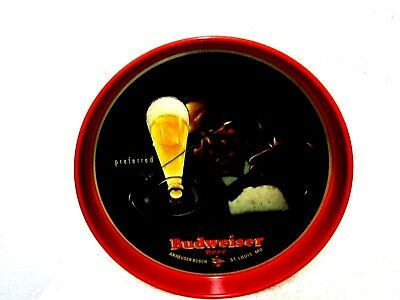 Vintage  Budweiser  Preferred Beer  Tin Tole Tray Anheuser Busch Modernistic