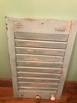 Vintage Wooden Shutter Plaque Distressed Door Window Cabinet Rustic Primitive