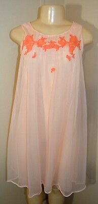 """Vintage Rogers Silky Lacey Double Nylon Nightgown-Size S-Bust To 34"""""""