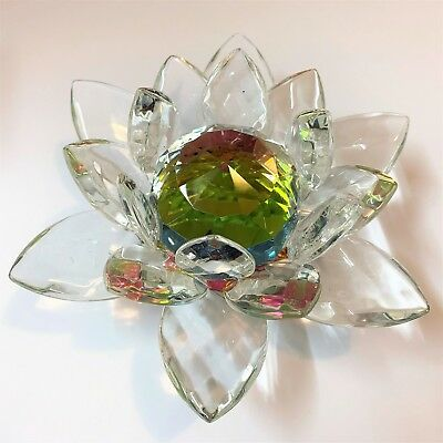 Faceted Crystal Glass Lotus Flower Paperweight / Ornament - 14cm Diameter
