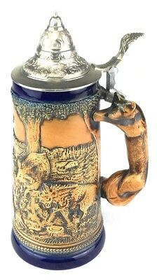Vintage Antique Original Gerzit Fox Handle Boar Hunt German Beer Stein Rare