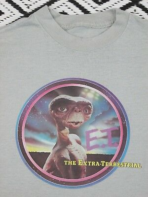 Vintage E.T. the Extra Terrestrial T shirt 50/50 1980`s Gray Youth L