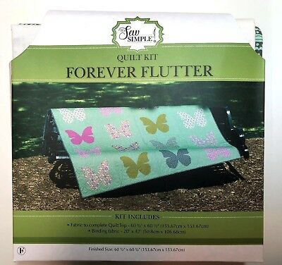 "It's Sew Simple Quilt Kit~""Forever Flutter""~Complete Quilt Top with Binding~NIP"