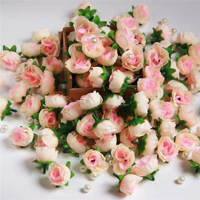 15X Roses Artificial Silk Flower Heads Wholesale Lots Wedding Decor Peach Pink
