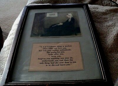 """Antique Whistler's Mother Poem Glass Framed Print Ready To Hang 15 3/4"""" X 11 3/4"""