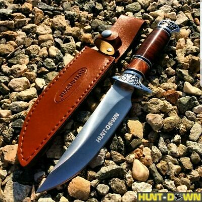"NEW 12"" COMBAT Hunt-Down Fixed Blade Knife with engraved Handle Hunting Survival"