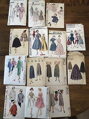 Lot Of 14 Vintage  1950's-1960's Sewing Patterns