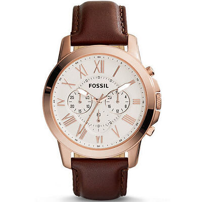 32e98167567e FOSSIL GRANT CHRONOGRAPH Eggshell Dial Brown Leather Men s Watch FS4991 -   71.99