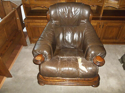 Vintage 1991 German Leather Couch, Love Seat and Single Chair Solid Oak Frame