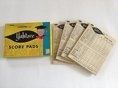 Vintage Yahtzee Game Score Pads in Box by E.S. Lowe Company 1956 4 pads NICE