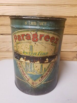 Paragon Oil Co 5lb Grease Can circa 1930s New York Esso Shell Sinclair
