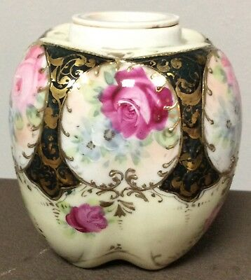 Rare Antique Nippon Tea Ginger Jar Caddy With Lid Porcelain Hand Painted Old