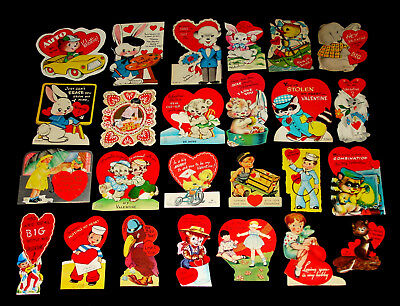 Lot 25 Vintage Valentine Greeting Cards - Used -No Scrapbook Residue -Girls Boys