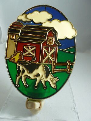"Stained Glass Style ""barn With Cows""  Night Light"