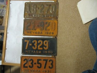 1928 – 1931 NEVADA 4X License Plates Tags