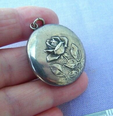 Antique Victorian Art Nouveau lg 800 Silver Puffy Rose Flower Charm Germany