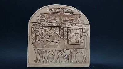 ANCIENT EGYPTIAN ANTIQUE ISIS AND ANUBIS Attending Mummy On Bed Stela Egypt BC