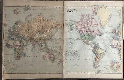 1894 Huge World Chart On 2 Sheets From Edward Stanford'S London Folio Atlas