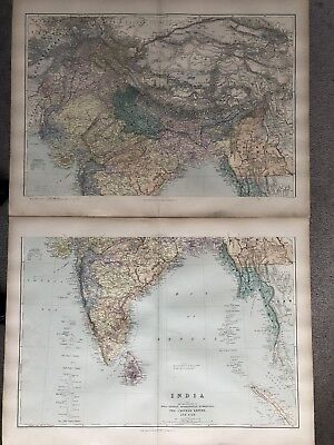 1894 India On Two Sheets Large Map From Stanford'S London Atlas