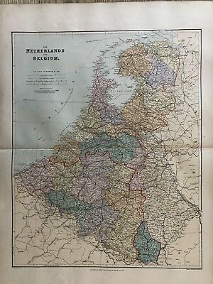 1894 Holland & Belgium Map From Stanford'S London Atlas Of Universal Geography