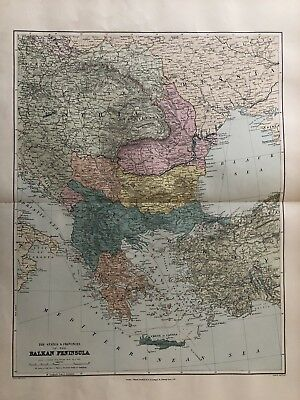 1894 Turkey In Europe Balkans Large Map From Stanford'S London Atlas