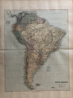 1894 South America Large Antique Map From Stanford'S London Atlas