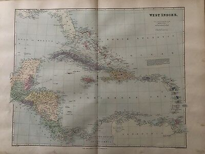 1894 West Indies Map From Stanford'S London Atlas Of Universal Geography