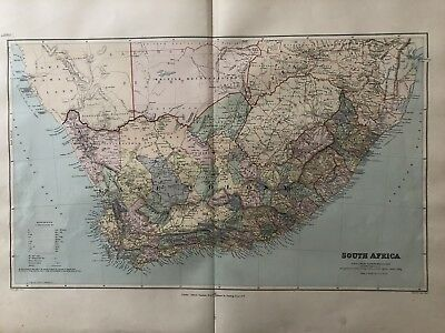 1894 South Africa Map From Stanford'S London Atlas Of Universal Geography