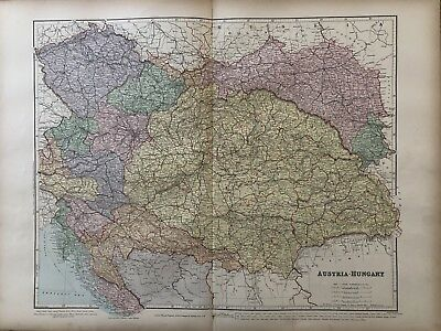 1894 Austria Hungary Big Map From Stanford'S London Atlas Of Universal Geography