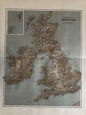 1894 British Isles Physical Large Map From Edward Stanford'S London Atlas
